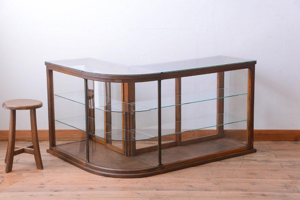 アンティーク家具 R型ガラスケース